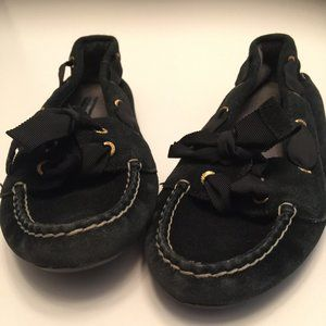 Sperry Black Ribbon Suede Boat Shoe Moccasin 7.5